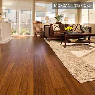 Dark carbonized bamboo wood flooring