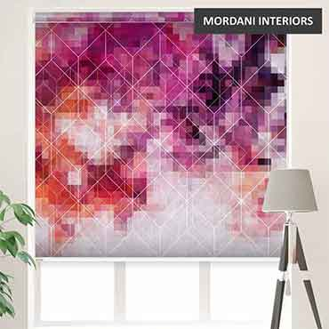 EX-12 Purple Geometric Abstract Printed Roller Blinds