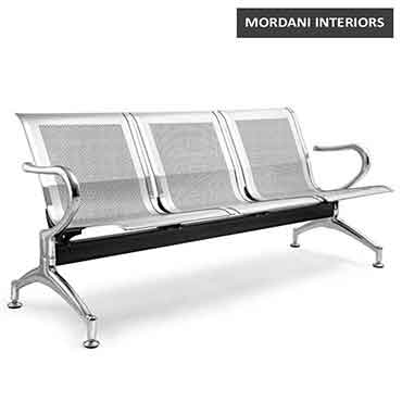 Jarvis 3 Seater Silver Waiting Area Bench