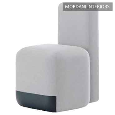 White Bona Pouffe Stool With Back Rest