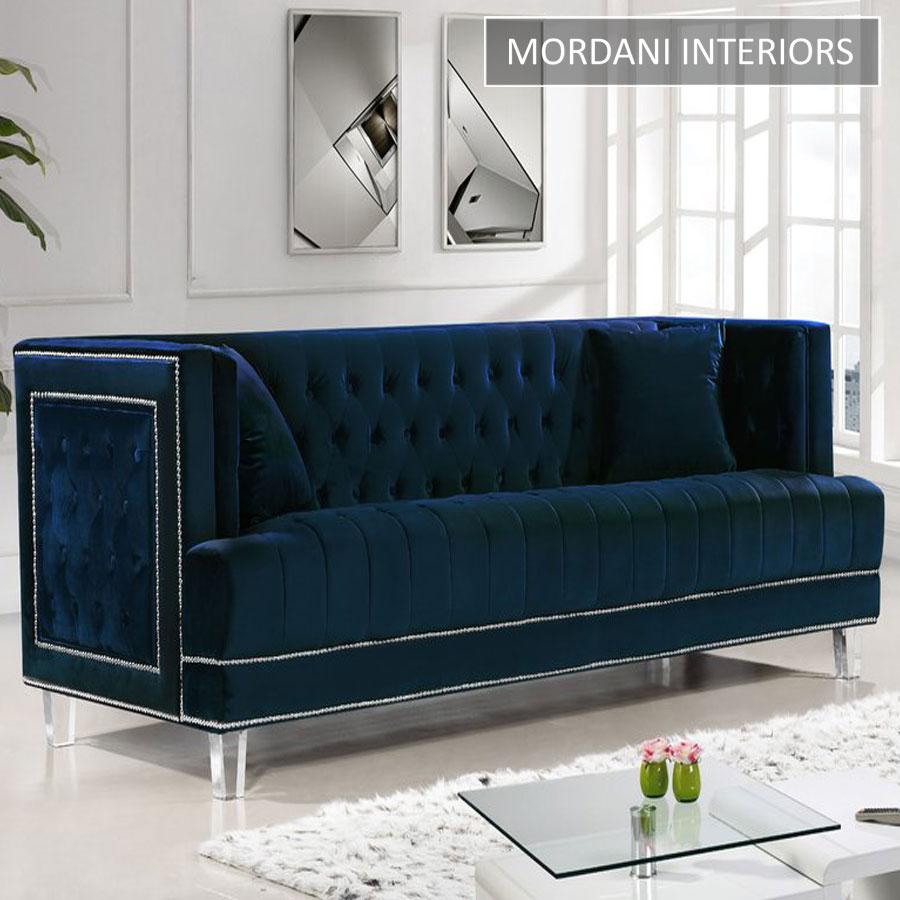 Bridgeport Navy Blue Velvet 3 Seater Chesterfield Sofa