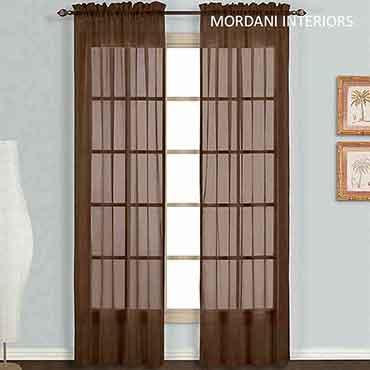 Chocolate Brown  Sheer Curtain