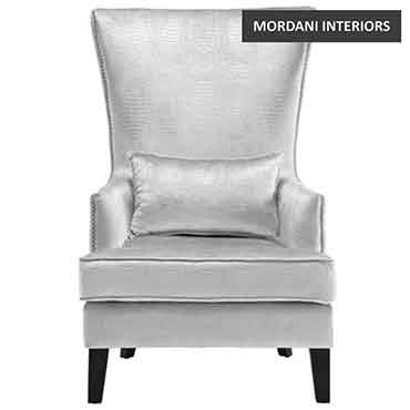 Club Silver Velvet Accent Chair