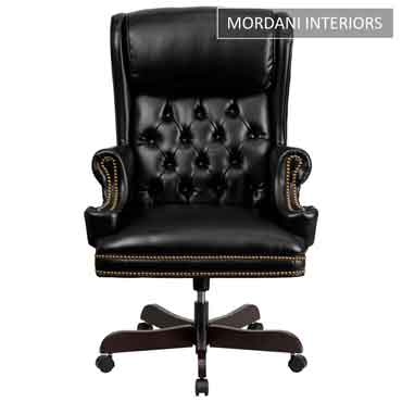 Count Black High Back 100% Genuine Leather Chair