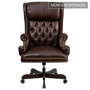 Count Brown High Back 100% Genuine Leather Chair