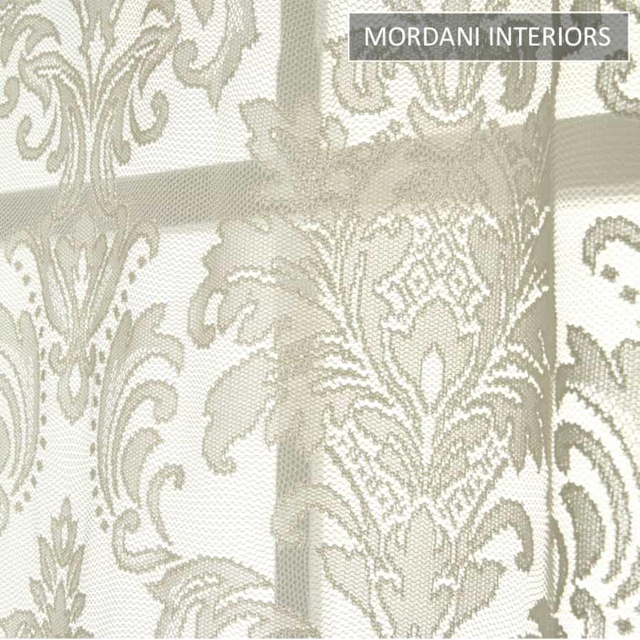 Cream Damask Sheer Curtain