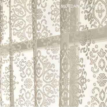 Cream Motiff Sheer Curtain