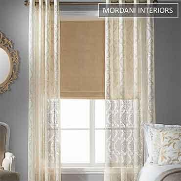 Cream Printed  Sheer Curtain
