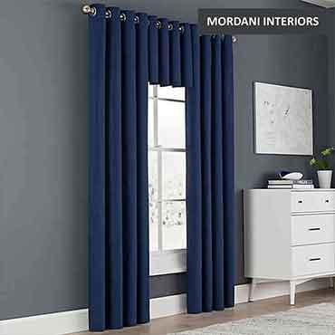 Navy Blue Cotton Curtain