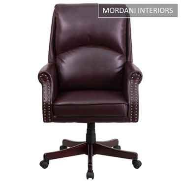 Duke Burgundy High Back 100% Genuine Leather Chair