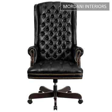 Kingdom Black High Back 100% Genuine Leather Chair