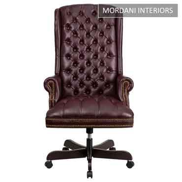 Kingdom Burgundy High Back 100% Genuine Leather Chair