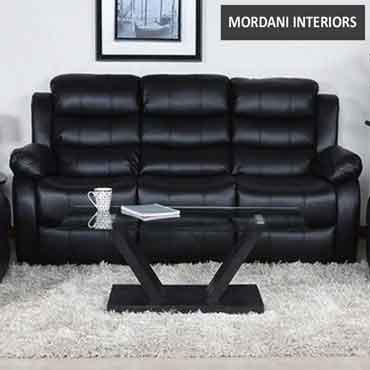 Rosson Black Three Seater Recliner Sofa
