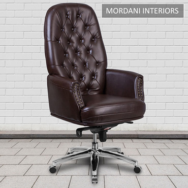 Supremos Brown High Back 100% Genuine Leather Chair